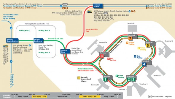 mapa airtrain JFK Manhattan