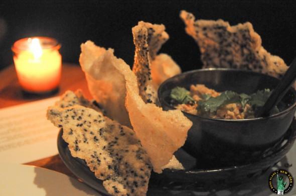 Kittichai Coconut & Organic Chicken relish with crispy jasmine rice cracker