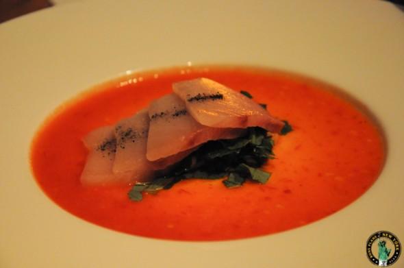 Kittichai Sashimi of hamachi, squid ink salt, red Hollad pepper dressing